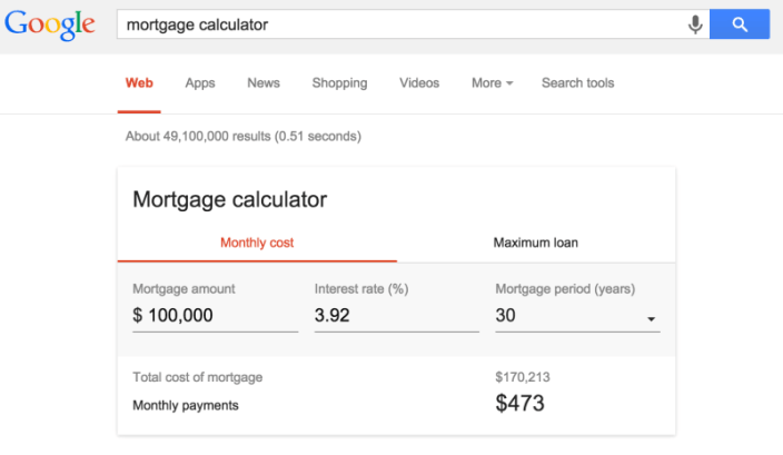 Google Mortgage Calculator