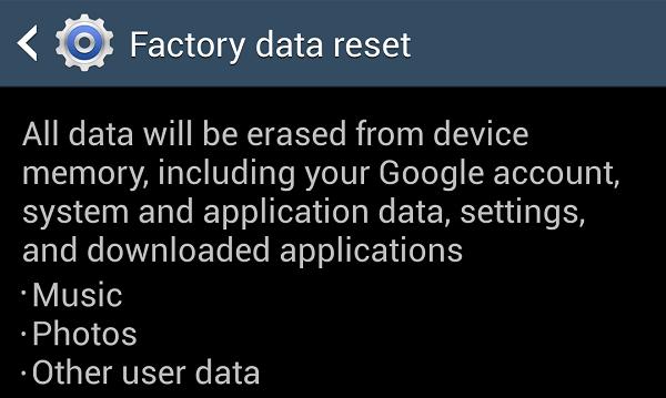 Galaxy S4 Factory Reset